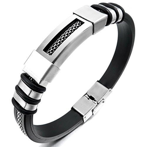 MunkiMix Edelstahl Gummi Kautschuk Armband Armreifen Manschette Silber Ton Schwarz Herren (Armbänder Herren)