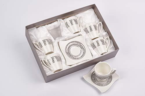 intignis Porsche Luxus Design, italienische Espresso, Tee, Kaffee Tassen und Untertassen Geschenk-Set von 6, Porzellan, handgefertigt, Design Inspried von Versace, porzellan, silber, Espresso Cups