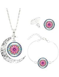 87e187ece531 Scrox 3pcs Juego de Joyas Mujeres Conjunto Plata Moda Joyería Boho Collar  Flor de Mandala Cristales