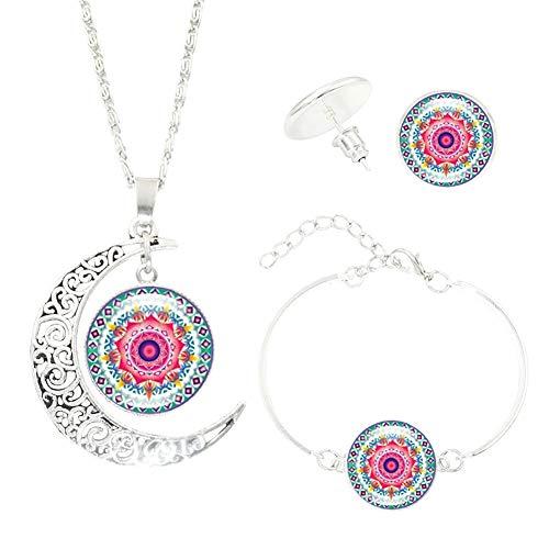 Doitsa Collar Pendientes Pulsera Forma de Luna Conjunto de Joyas, diseño de Mandala Moda Elegante Accesorios de Joyas Regalo Ideal