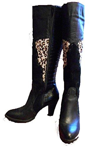Very Volatile Stampede Spitz Leder Mode-Knie hoch Stiefel Black Multi
