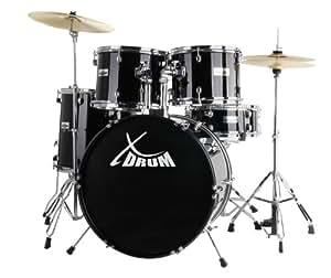 XDrum Semi (Schlagzeug Komplettset und Drumschool inkl. DVD) schwarz