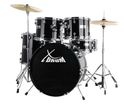 drumset gebraucht XDrum Classic Schlagzeug Komplettset Schwarz inkl. Schule + DVD