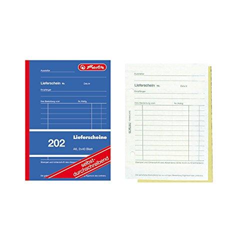 Herlitz 883553 Lieferscheinbuch A6, 2 x 40 Blatt, selbstdurchschreibend, 5 Stück