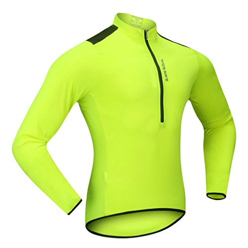 MagiDeal Herren Langarm Fahrrad Radfahren Jersey Schnell Trockend Funktionsshirt Reißverschluss Fahrradtrikot Hemd - Fluo Grü, XL