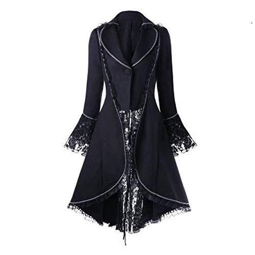 Beladla abbigliamento giacca vintage da donna maniche lunghe in vita rivestimento pizzo a overcoat camicia swallowtail merletto gotico delle donne gotiche