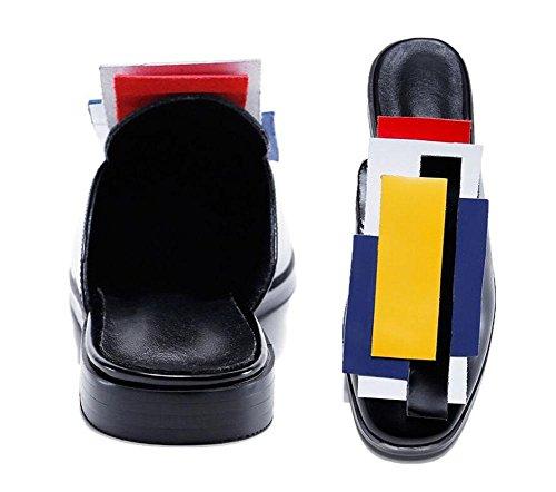 GLTER Donne Mules sandali di cuoio pistoni freddi piatto Baotou colorate geometriche piscina Scarpe Zoccoli scarpe da spiaggia Slip-On Pantofole Nero Argento Giallo black + yellow upper