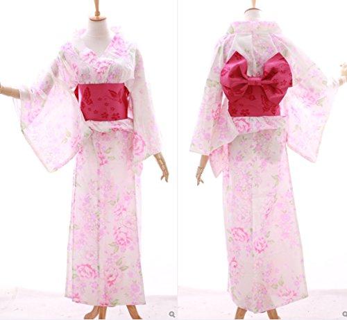 Kawaii-Story K-028 weiß rosa Gold Glitzer Blumen ORIGINAL traditionell Japan Damen Kimono Yukata Obi Gürtel Baumwolle - Obi Kimono Gürtel