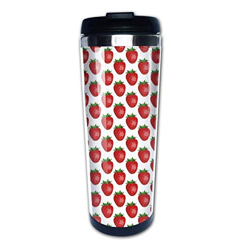 QIUJUAN Shiny Strawberry Print Office Mug 400 Ml Portable Coffee Travel Mug For Men Women Stainless Steel Tumbler Cup (Keurig Portable)