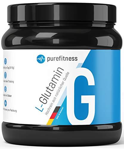 PREMIUM L Glutamin Ultrapure Pulver 500g I Laborgeprüft & Zertifiziert I Made in Germany I HOCHDOSIERT & hochrein I 99,95% Reinheit I 100 Portionen I Vegan I Pflanzlich hergestellt aus Mais