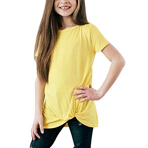 MRULIC Baby-Mädchen-Kurze Hülsen-festes T-Shirt Knoten-Front übersteigt Hemd-Kleidung(Gelb,Höhe:7-8 Jahre)