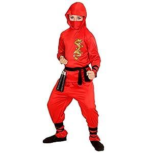 WIDMAN Red Dragon Ninja - Niños Disfraz - Pequeño - Edad 5-7 - 128cm