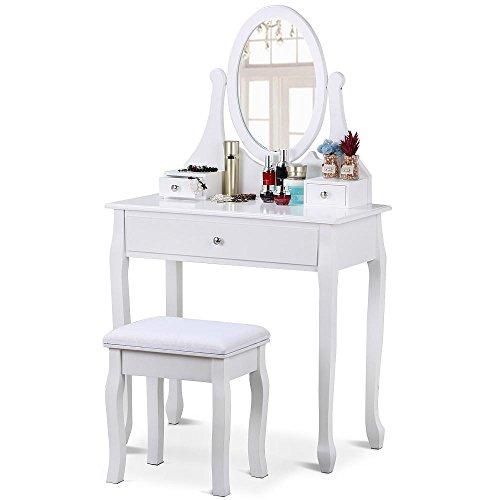 ch mit Spiegel und Hocker, Kosmetiktisch, Frisierkommode, Frisiertisch, inkl Schubladen, weiß, 80 x 40 x 137 cm ()
