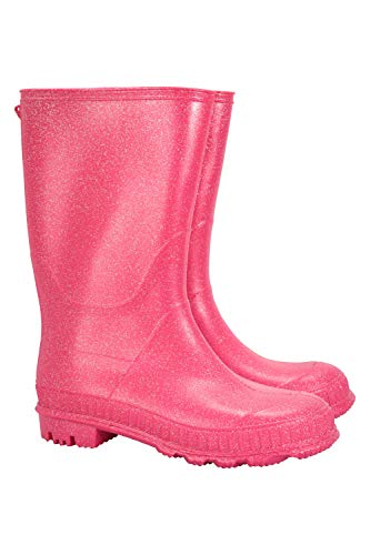 Mountain Warehouse Glitter Kids Wellies - Waterproof Childrens Wellington Boots, Textile Lined Rain Shoes for Boys & Girls, Easy Clean - for School, Walking, Outdoors