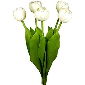kunstblume blumenstrau tulpen wei 5 st ck 43 cm wie echte k che haushalt. Black Bedroom Furniture Sets. Home Design Ideas