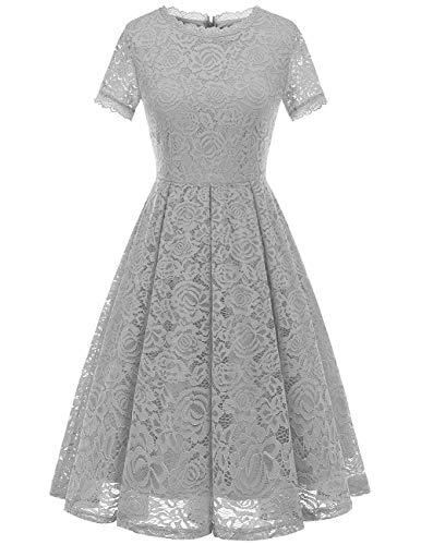 Dresstells Damen Elegant Kleid Spitzenkleid Kurzarm Cocktailkleider Party Ballkleid Silver S