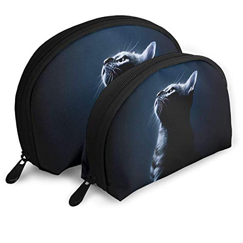 Portable Shell Makeup Storage Bags Cool Halloween Black Cat Travel Waterproof Toiletry Organizer Clutch Pouch for Women