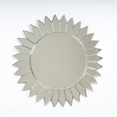 "Quality Glass Glass And MDF Decorative Wall Mirror (26""x26"", Silver, Asymmetric Shape) - B0798MWNC6"