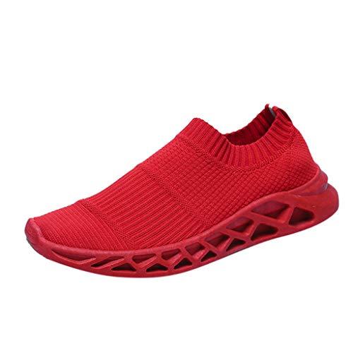 Anglewolf Herrensneakers Sportschuhe Laufschuhe Plateauschuhe Fashion Schuhe Atmungsaktives Leichte Trainer Outdoor Freizeitschuhe Fitnessschuhe Bequeme Sohlen Sneakers(rot,40 EU)