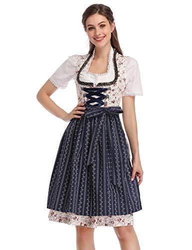 KOJOOIN Damen Dirndl Trachtenkleid Kurz mit Stickerei Exklusives Designer für Oktoberfest - DREI Teilig: Kleid, Bluse, Schürze Rosa-DunkelBlau 42 -