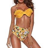 NPRADLA 2018 Bikini Damen Set Blumendruck Badeanzug Badebekleidung die Monokini gepolsterten badet(Gelb,S)
