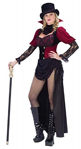 Burlesk Viktorianisch Vampirin Halloween Kostüm Kleid Outfit UK 10-12 - Schwarz, 10-12 ()