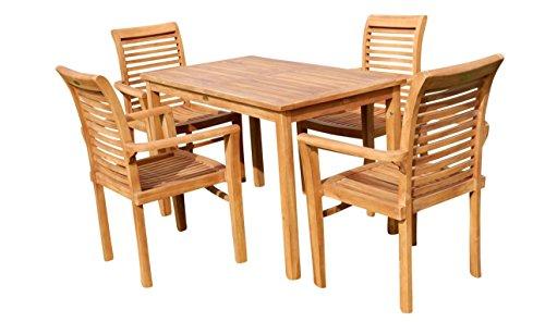 AS-S Teak Set Gartengarnitur Gartentisch 120×70 cm mit 4 Sessel Holz Serie JAV-ALPEN