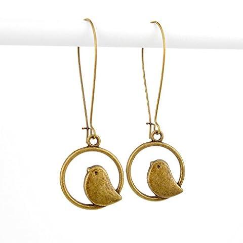 Long Drop Bird Earrings in Antique Bronze on 38mm kidney wires