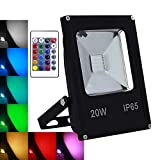 Foco LED RGB de 20 W con mando a distancia, multicolor, regulable, 4...