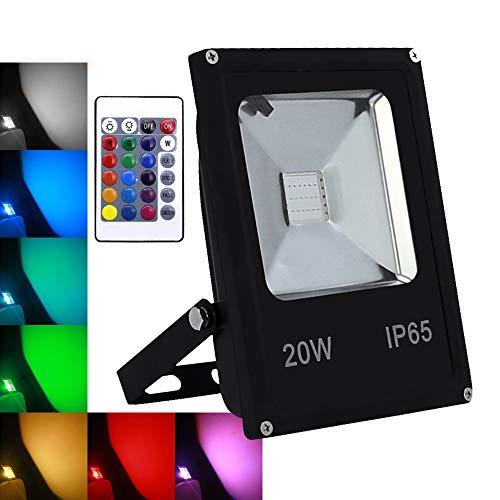 Foco LED RGB de 20 W con mando a distancia, multicolor, regulable,...