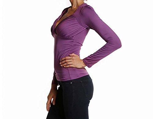 ACVIP Sexy Vêtement Blouse Manche Longue Col V Foncé Tops Haut Chemise pour Femme,3 Couleurs Violet