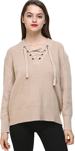 Vogueearth Fashion Hot Femme's V-Neck Lace up Knit Jumper Sweater Chandail Tricots Pullover Top Gris