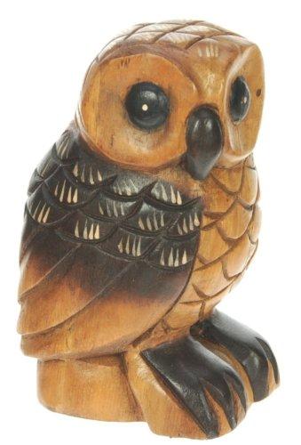 Figura del buho - ornamento de la decoracion del hogar - escultura madera tallada - tamano del animal -tamaño 16cm