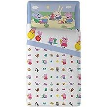 Peppa Pig T&F - Juego de sábanas de 3 piezas, 100% algodón, color celeste, para cama individual, 150 x 280 x 1 cm