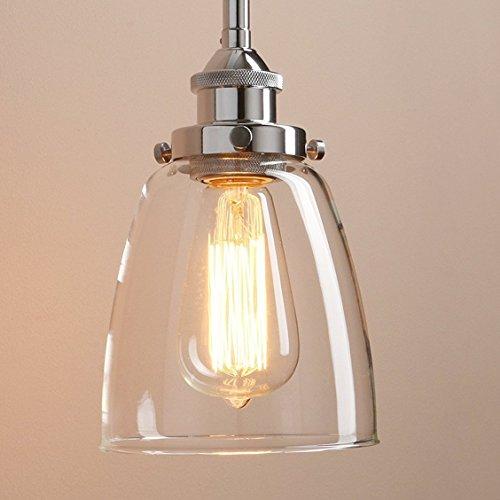 Glighone Lámpara Colgante 40W Lámpara Industrial Luz Colgante Lámpara de Techo Estilo Vintage Luz Retra Luz de Cristal Transparente Casquillo E27, Color Cromo (modelo 3)
