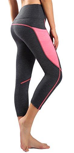 Munvot Damen Hohe Taille Sport Leggings - TUMMY CONTROL - Kompression Sporthosen Super für Fitness, Joggen, Yoga etc. (XL, Grau/Pink)