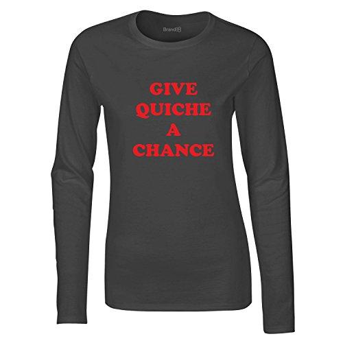 Give Quiche A Chance, Damen Langarm-T-Shirt, Holzkohle Grau/Rot, 2XL = 14-16 (T-shirt Fitted Chance)