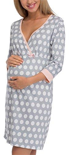 Cornette camicia da notte premaman 652/13 (grigio/bianco, xl)