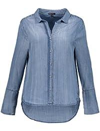 6bddfed475a7 Ulla Popken Damen große Größen bis 64, Bluse, Hemd in Jeansoptik, Offener  Hemdkragen, gerundeter…