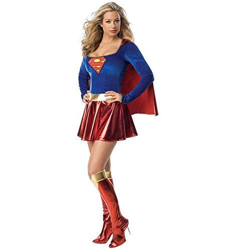 ZOULYD Damen Supergirl Kostüm Für Erwachsene - Supergirl Damen Kostüm Superheld Damen Erwachsene Super Girl Kostüm Outfit Superwoman Kostüm RedBlue-L