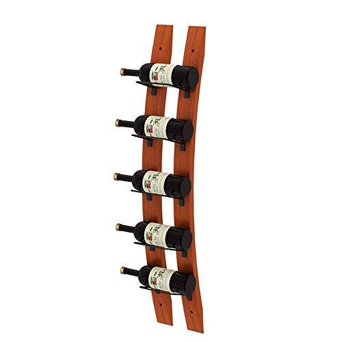 Liuxiaomiao-Home Weinregal Wein Enthusiast Barrel Stave Wall Weinregal für 5 Flaschen Ihres Lieblingsweins Elegante Lagerung für Küche Esszimmer Bar oder Weinkeller Robust, langlebig -
