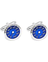 Ss Blue Speedometer Copper Cufflinks for Men