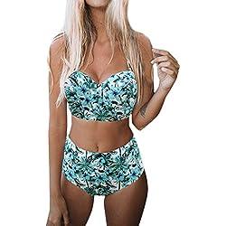 LuckyGirls Maillots Deux pièces de Bain Femme 2 Pièce Bikini Taille Haute Shorty Push Up Imprimer Bleu Dos Nu Maillots de Bain 2 Pièces (Menthe Verte,XL)
