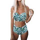 LianMengMVP BH Bikini Sommer Badeanzug Exquisite Bademode Strap Badeanzug Frauen Blumen Druck Monokini Gepolsterter Push-Up für Damen mit hoher Taille und Badeanzug