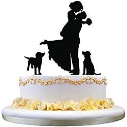 Cake Topper sombra pareja con perros