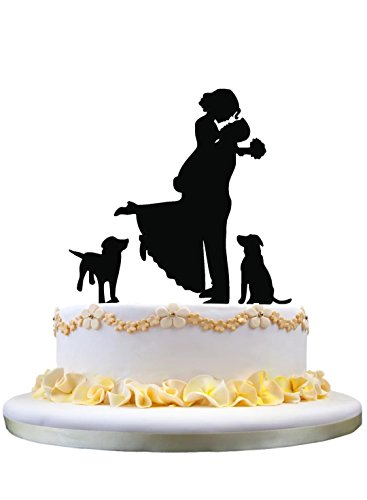 Funny Wedding Cake Topper - boyfriend celebration of the bride silhouette with 2 Lovely Dogs Decoration, wedding cake Topper with dogs