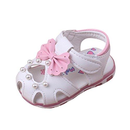 FNKDOR Neugeborene Baby Mädchen LED Licht Sandalen Leuchtschuhe 1-2 Jahre Babyschuhe Bowknot Schuhe (24 Monate/13 cm, Weiß)