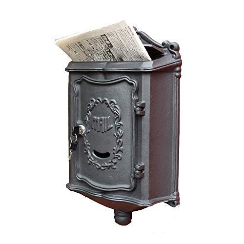 DXDHJ Briefkasten, europäische Art außerhalb des Aluminium-Wand-Berg-Briefkastens Sicherer Briefkasten Briefkasten Retro- Weinlese-Briefkästen im Freien (Color : Black) (Wand-berg Europäischer -)