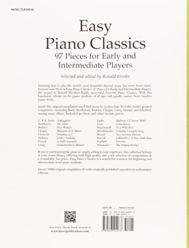 Easy Piano Classics: 97 Pieces for Early and Intermediate Players (Dover Music for Piano)