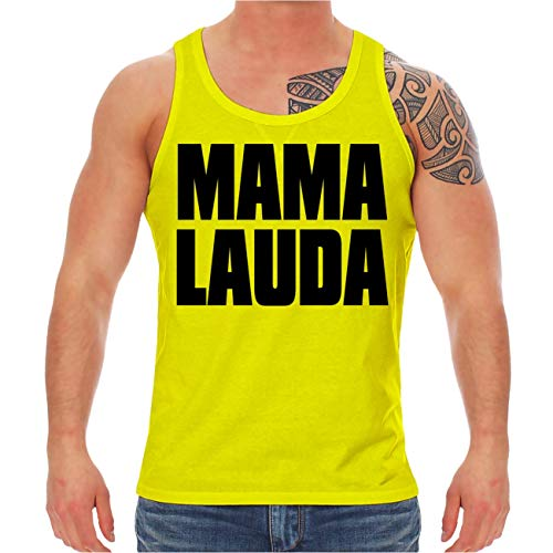 Männer und Herren NEON Tank Top Träger Shirt Sprüche Malle Mallorca Mama Lauda Größe XS - XXL - Bier Männer Tank-tops Für